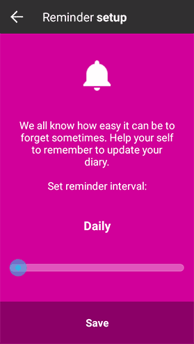 Create and customize a diary reminder.Create a diary reminder.
